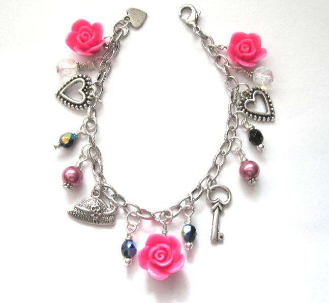 Roses and Hearts Charm Bracelet - product images  of