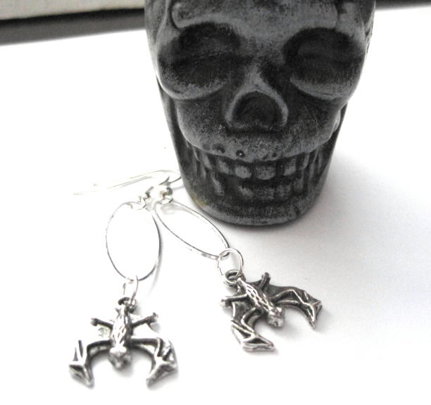 Gothic Bat Oval Ring Dangle Earrings - product images  of