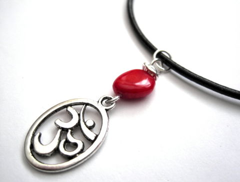 Om,Leather,Necklace,Red,Coral,Om Leather Necklace, Red Coral, om symbol, handmade jewelry