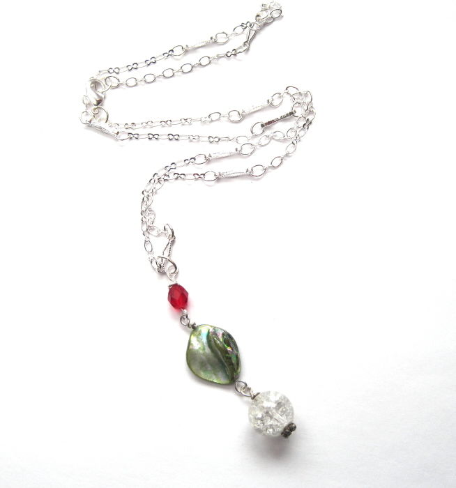 Green Mother of Pearl Shell Necklace - product images  of