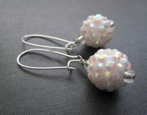 Snowball,Pave,Dangle,Earrings,snowball earrings, pave dangle earrings, white, winter earrings, handmade jewelry