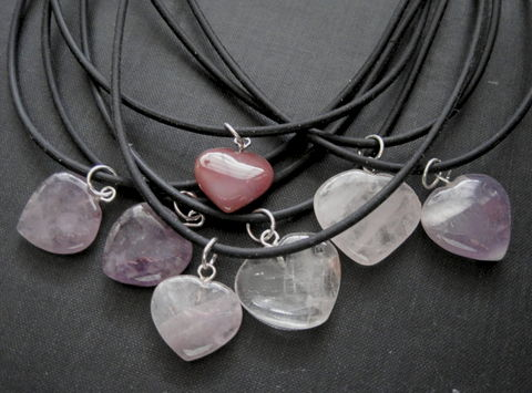 Gemstone,Heart,Choker,Necklace,Gemstone Heart Choker Necklace, amethyst heart, quartz heart, rose quartz heart, carnelian heart, cord necklace, valentine's day jewelry