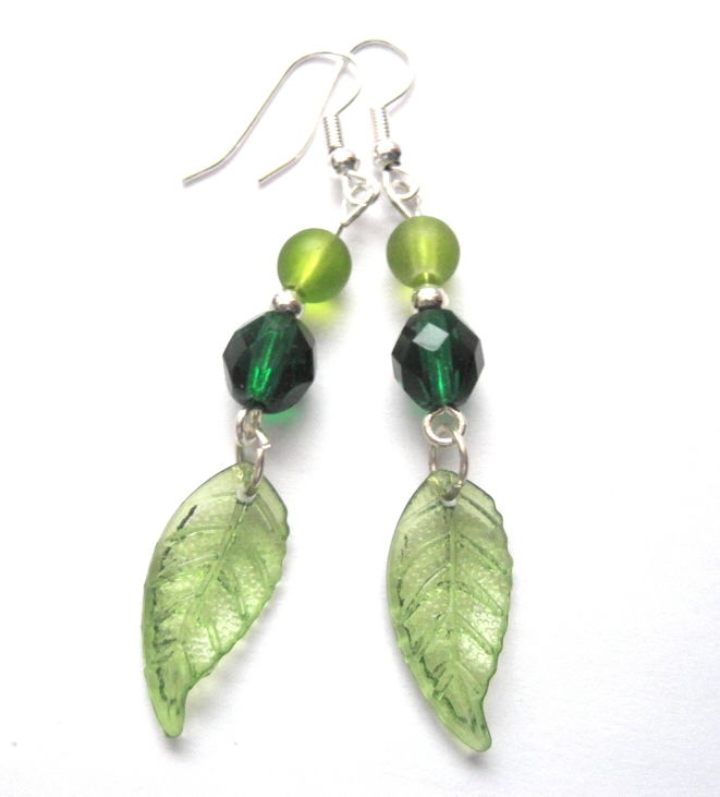 Spring Green Leaf Dangle Earrings - product images  of