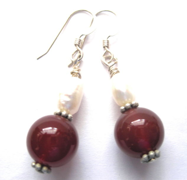 Sterling Silver Red Carnelian, Fresh Water Pearl Dangle Earrings - product images  of