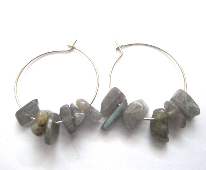 Sterling Silver Labradorite Hoop Earrings - product images  of