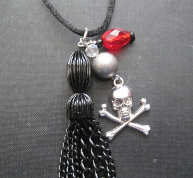 Skull Crossbones Black Metal Tassel Cord Necklace - product images  of