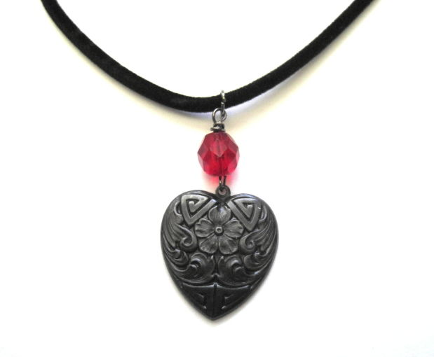 My Gothic Black Heart Choker, Cord Necklace - product images  of