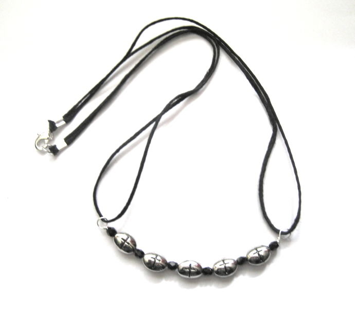 Multi Metal Cross Bead Cord Necklace - product images  of