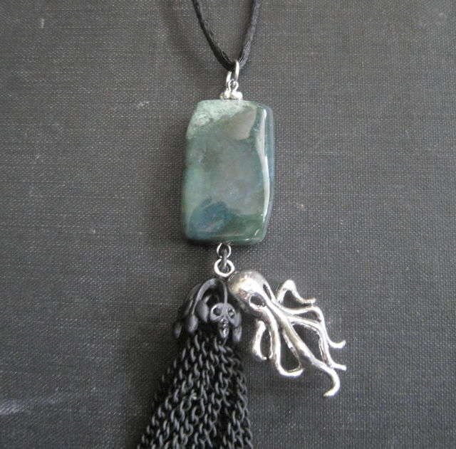Octopus Sea Monster Tassel Necklace Moss Agate  - product images  of