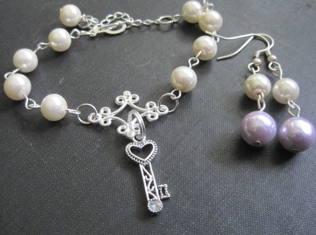 Pearls Heart Key Rosary Style Charm Bracelet Earring Set - product images  of