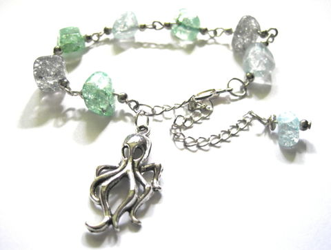 Stormy,Seas,Octopus,Bracelet,Stormy Seas Octopus Bracelet, gothic beach jewelry, octopus, crackle glass beads, sea life bracelet, oceanic jewelry, nautical, beach, summer, handmade jewelry