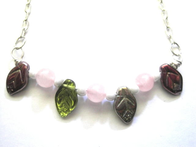 Rose Quartz Leaves Necklace - product images  of