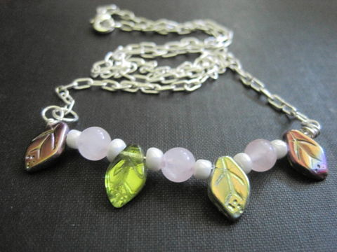 Rose,Quartz,Leaves,Necklace,Rose Quartz Leaves Necklace, gemstone necklace, leaf necklace, aurora borealis, pink, pearl, romantic jewelry, handmade jewelry