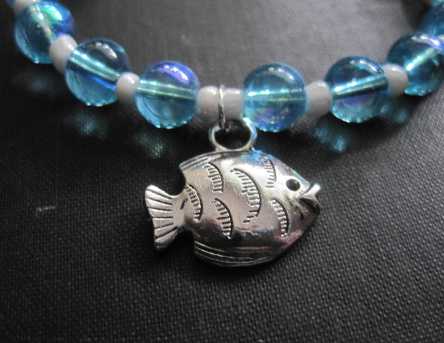 Nautical Fish Blue Glass Sea Bracelet - product images  of