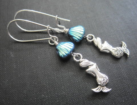 Mermaid,Sea,Shell,Dangle,Earrings,Mermaid Sea Shell Dangle Earrings