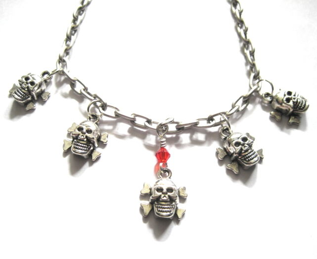 Multi Skull & Crossbones Choker Necklace - product images  of