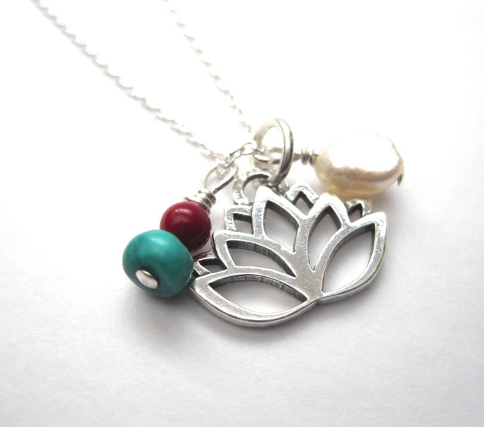 Sterling Silver Lotus Flower Pearl Necklace - product images  of