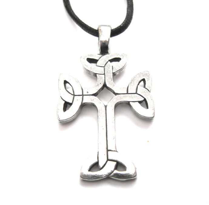 Celtic Knot Cross Amulet Cord Necklace - product images  of