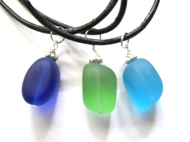 Frosted Glass Cord Necklace Handmade - product images  of