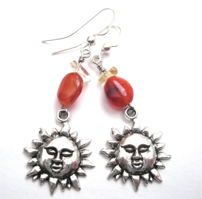 Sun Charm Dangle Earrings Carnelian Citrine - product images  of