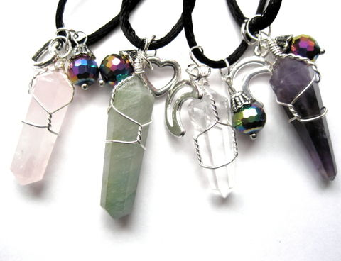 Quartz,Crystal,Point,Cord,Necklace,Quartz Crystal Point Cord Necklace