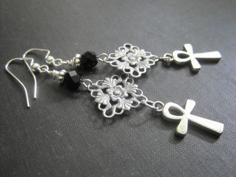Victorian,Vampire,Ankh,Filigree,Dangle,Earrings,Victorian Vampire Ankh Filigree Dangle Earrings, victorian vampire jewelry, gothic, goth jewelry, filigree earrings, antique silver, handmade jewelry