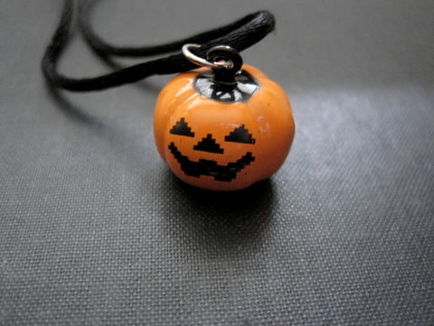 Pumpkin,Jack,o',Lantern,Necklace,,Bell,Necklace,pumpkin necklace, jack o lantern, necklace, orange, black, handmade jewelry, bell necklace, jack o lantern bell, silk cord necklace, halloween necklace, halloween jewelry, pumpkin jewelry, collectible jewelry, holiday jewelry, vamps jewelry