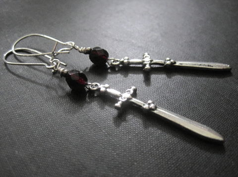 Sword,Excalibur,Gothic,Dangle,Earrings,Sword Excalibur Gothic Dangle Earrings, knights sword earrings, gothic earrings, handmade jewelry