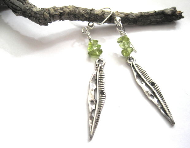 Green Peridot Leaf Dangle Earrings - product images  of