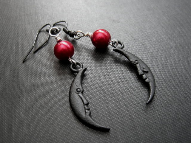 Black Crescent Moon Red Pearl Dangle Earrings - product images  of