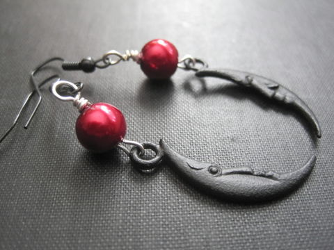 Black,Crescent,Moon,Red,Pearl,Dangle,Earrings,Black Crescent Moon Red Pearl Dangle Earrings, moon, gothic jewelry, goddess moon earrings, red, black, pearl earrings, moon dangle earrings, dark moon phase,  handmade jewelry