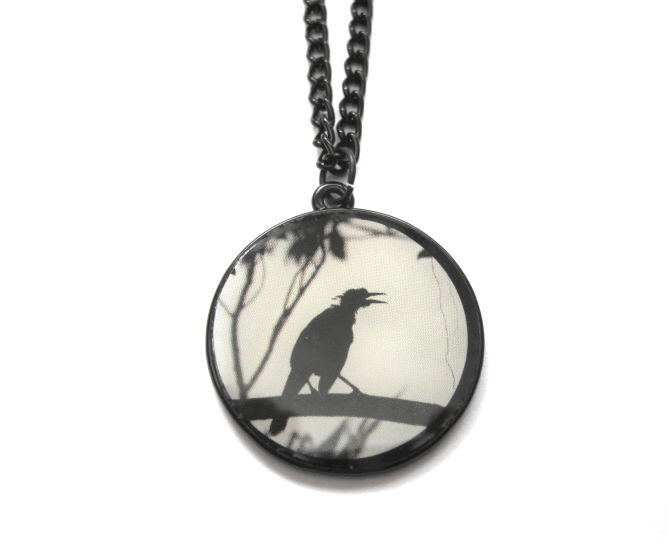 Gothic Raven Cabochon Necklace - product images  of