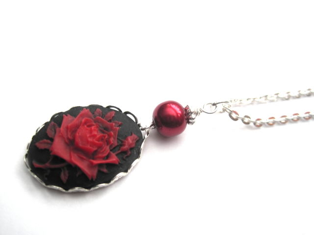Red Rose Cameo Necklace - product images  of