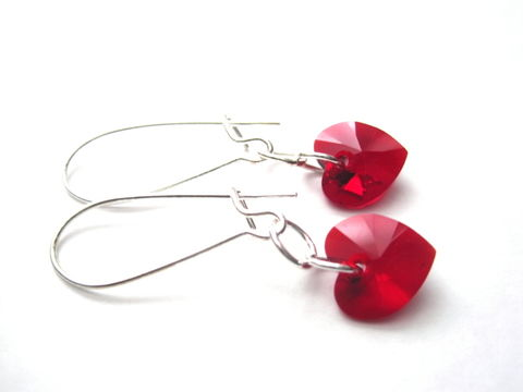 Red,Swarovski,Crystal,Heart,Dangle,Earrings,Red Swarovski Crystal Heart Dangle Earrings, valentine's day jewelry, love earrings, Swarovski crystal, heart crystal earrings
