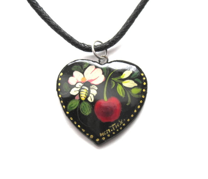 Floral Love Heart Cord Necklace - product images  of