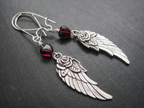 Red,Garnet,Heart,Angel,Wing,Dangle,Earrings,Red Garnet Heart Angel Wing Dangle Earrings, angel wing earrings, garnet heart earrings, handmade jewelry, valentines day jewelry, romantic jewelry, heart rose earrings, love