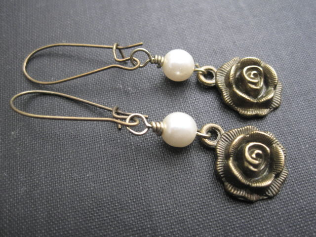 Vintage Style Antique Gold Rose Pearl Dangle Earrings - product images  of