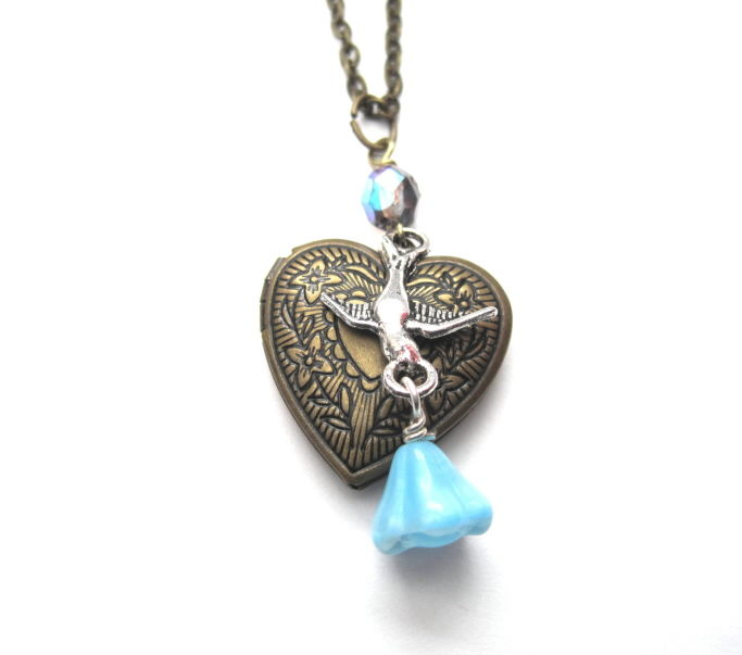 Victorian Heart Bird Brass Locket Necklace  - product images  of