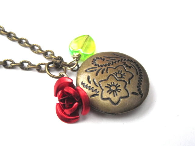 Floral Round Victorian Love Locket Necklace  - product images  of