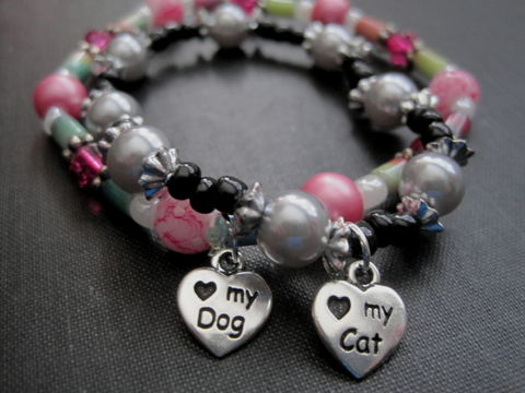 Cat,or,Dog,Love,Stretch,Bracelet,Handmade,Cat or Dog Love Stretch Bracelet, cat bracelet, dog bracelet, paw print bracelet, pet lover jewelry, handmade jewelry