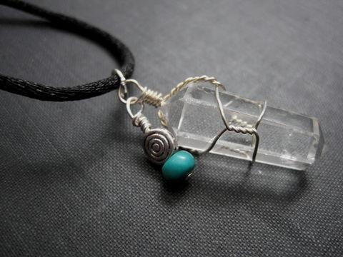 Clear,Quartz,Crystal,Cord,Necklace,Clear Quartz Crystal Cord Necklace, mystic necklace, crystal point necklace, turquoise, unisex jewelry, healing crystal jewelry, cord necklace