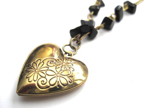 Brass,Floral,Heart,Black,Bead,Love,Locket,Necklace,Brass Floral Heart Black Bead Love Locket Necklace, floral heart locket, handmade jewelry, valentine's day jewelry, vamps jewelry, love, heart, black, victorian heart locket necklace