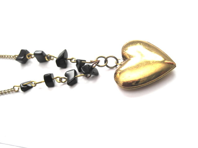 Brass Floral Heart Black Bead Love Locket Necklace  - product images  of