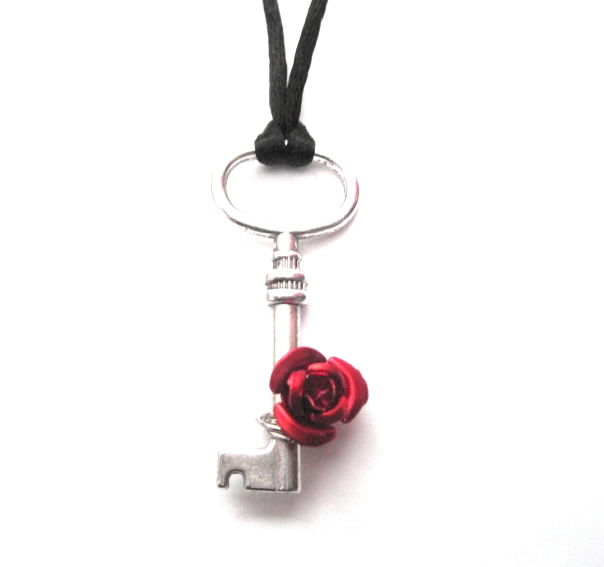 Victorian Skeleton Key Rose Cord Necklace  - product images  of
