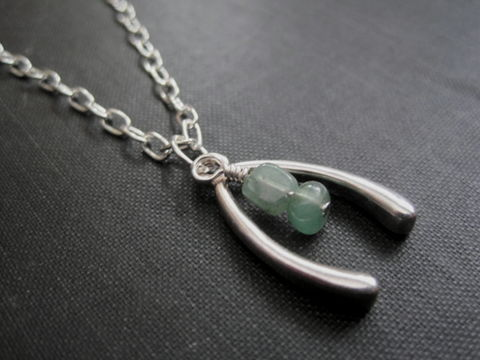 Wishbone,Aventurine,Good,Luck,Necklace,Wishbone Aventurine Good Luck Necklace