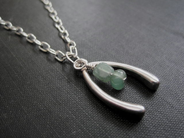 Wishbone Aventurine Good Luck Necklace - product images  of