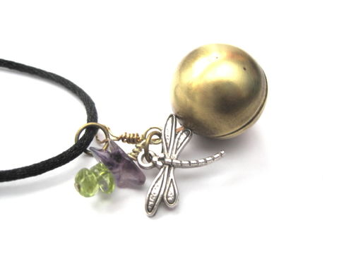 Dragonfly,Gemstone,Brass,Ball,Vintage,Locket,Necklace,Dragonfly Gemstone Brass Ball Vintage Locket Necklace, sphere, glove, locket, vintage locket, amethyst, green peridot, gemstones, handmade jewelry