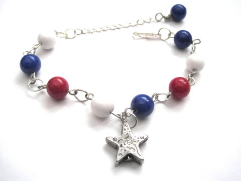 Red,White,and,Blue,USA,Star,Bracelet,Red White and Blue USA Star Bracelet, nautical bracelet