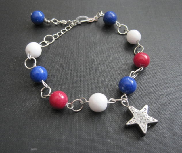 Red White and Blue USA Star Bracelet - product images  of