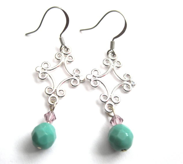 Filigree Chandelier Turquoise Dangle Earrings, Victorian - product images  of